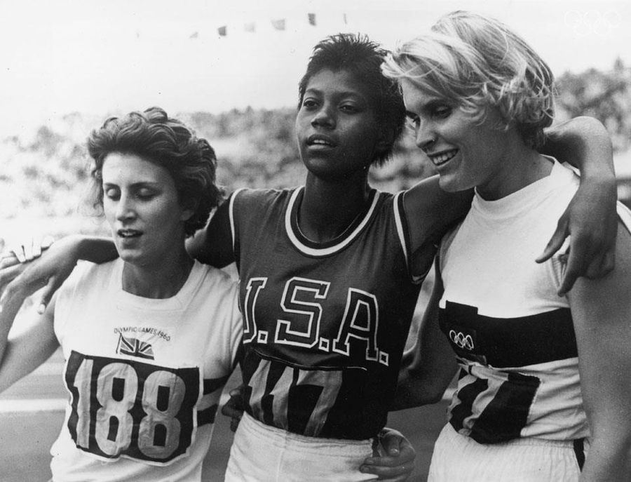 1960, Rome. Britain's Dorothy Hyman earns bronze at the 200 metre race and poses with USA's Wilma Rudolph (gold) and Germany's Jutta Heine (silver).