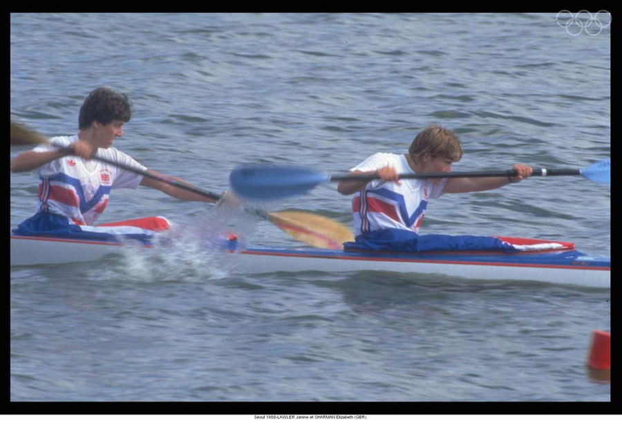 UK's female canoeing team Janine Lawler and Elizabeth Sharman don the kit designed for the 1988's Seul olympics.