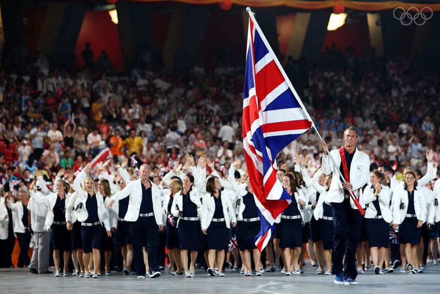 Swimmer Mark Foster of Great Britain carries his nation's flag during the Opening Ceremony for the 2008 Beijing games.