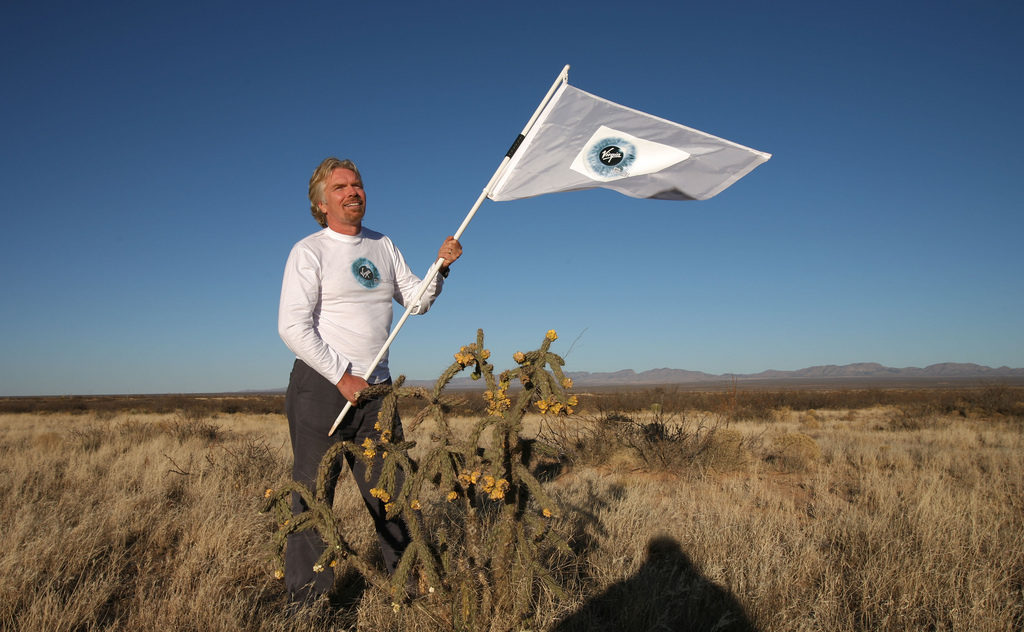 Virgin Atlantic Airways founder and Chairman Sir Richard Branson in the New Mexican desert near Las Cruces