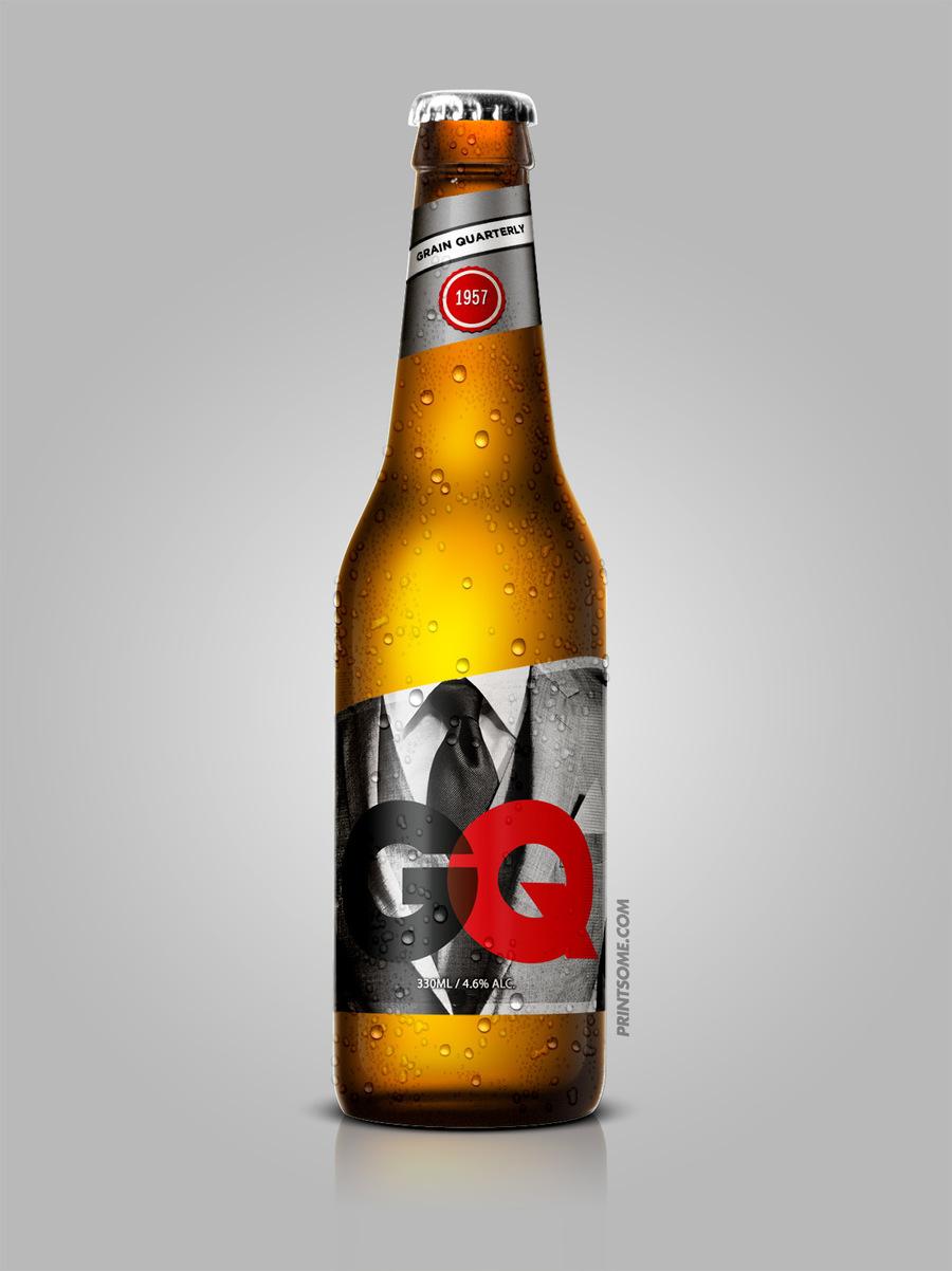GQ, beer bottles