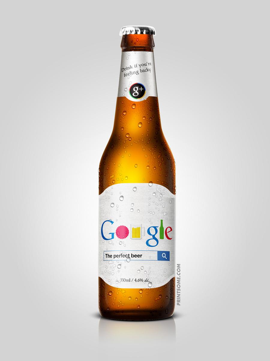 Google, beer bottles
