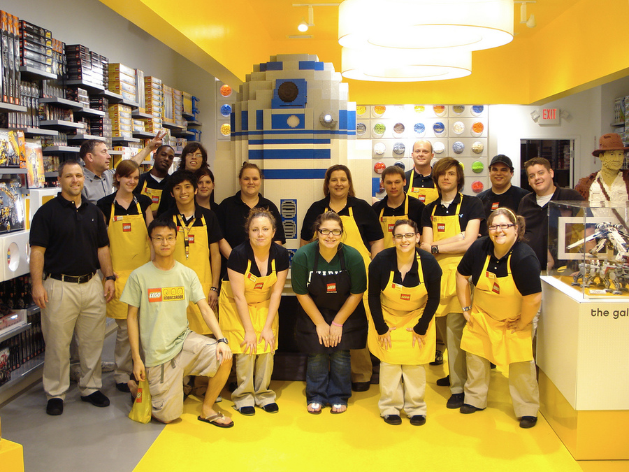 Lego employees uniforms, embroidered aprons