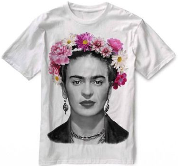 frida, frida t-shirt, frida with flowers t-shirt,