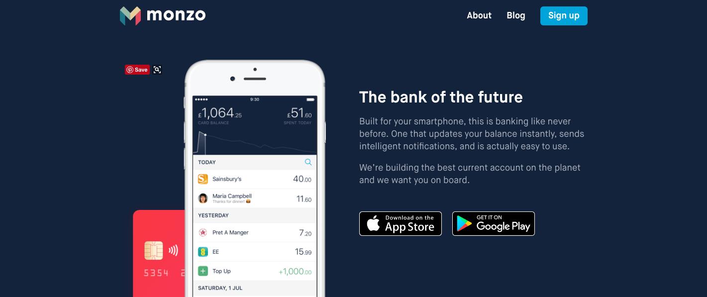 british start-ups - monzo screen shot