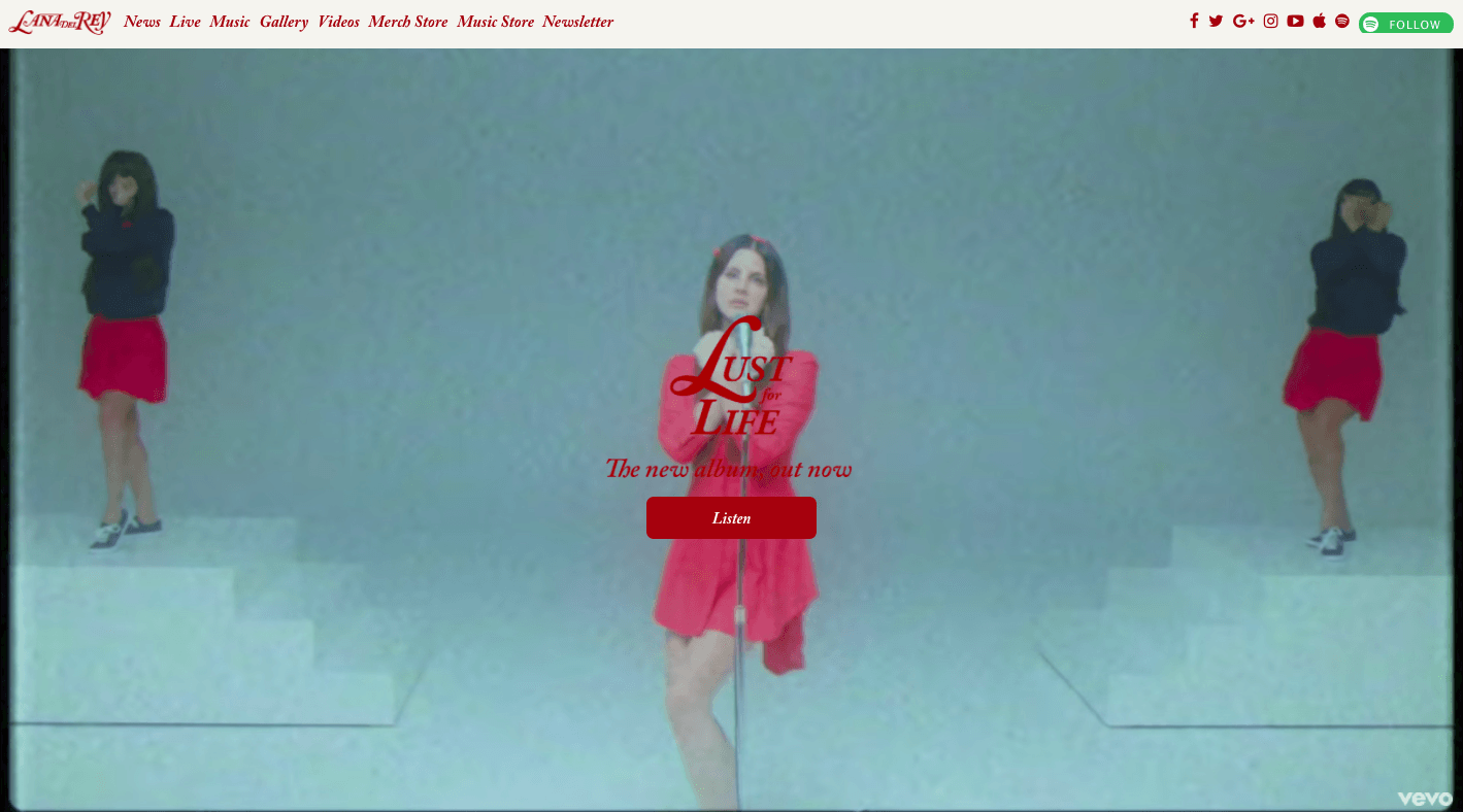 Lana Del Rey, Website, UI Design Trends