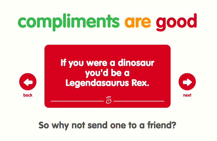 innocent drinks, screen shot, compliments generator