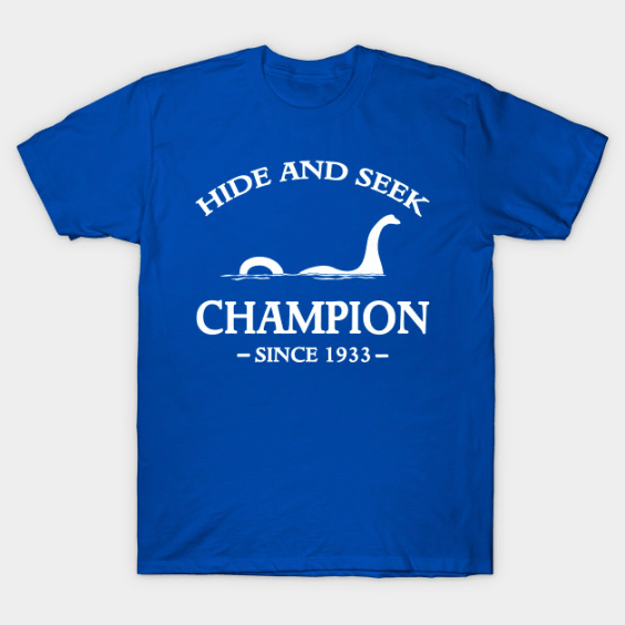 custom t-shirts uk, nessie, hide and seek champion