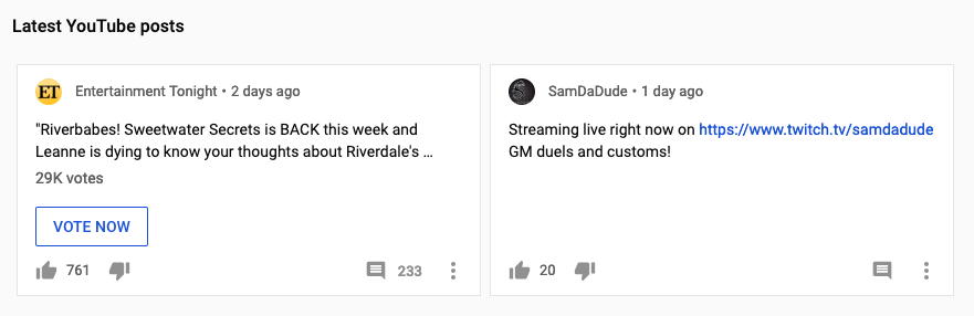 YouTube Community Posts - Community Posts on the homepage