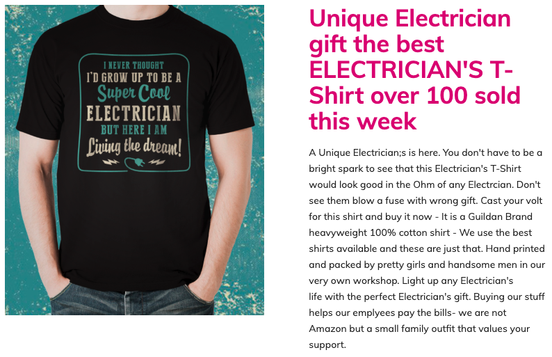 Electrician T-shirt by Blackland Media