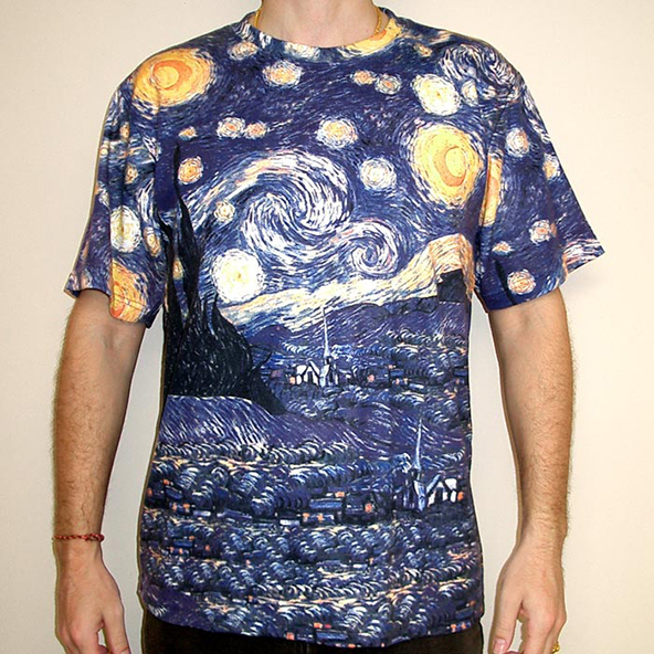 van gogh, starry night, van gogh t-shirt, starry night t-shirt, artistic t-shirt, art on t-shirt, art, t-shirt