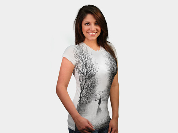 alone in forest t-shirt, artistic t-shirt, black and white t-shirt, art on t-shirt, art, t-shirt