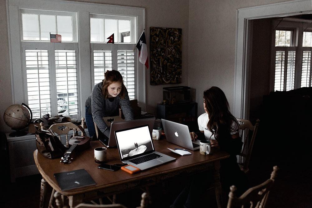 two girls working, self-improvement youtubers