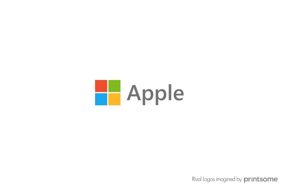 apple microsoft logo swap