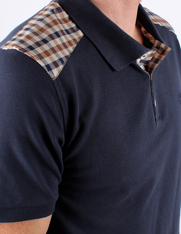 Aquascutum polo shirts, plaid polo shirt, polo shirts, embroidery
