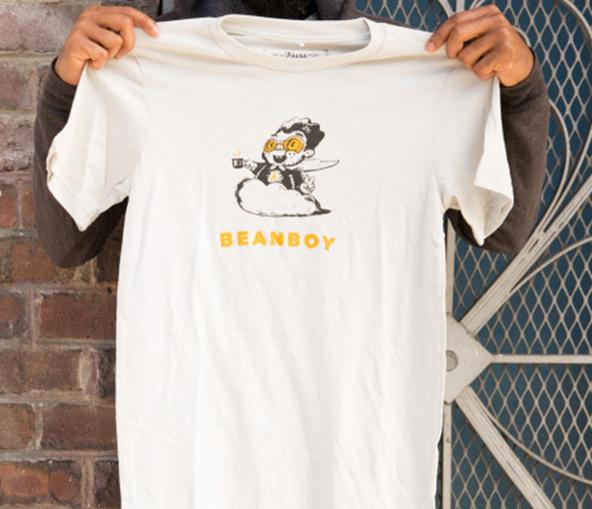bean boy, bean boy shirt, bean boy t-shirt, coffee t-shirt, london coffee festival, coffee shirts