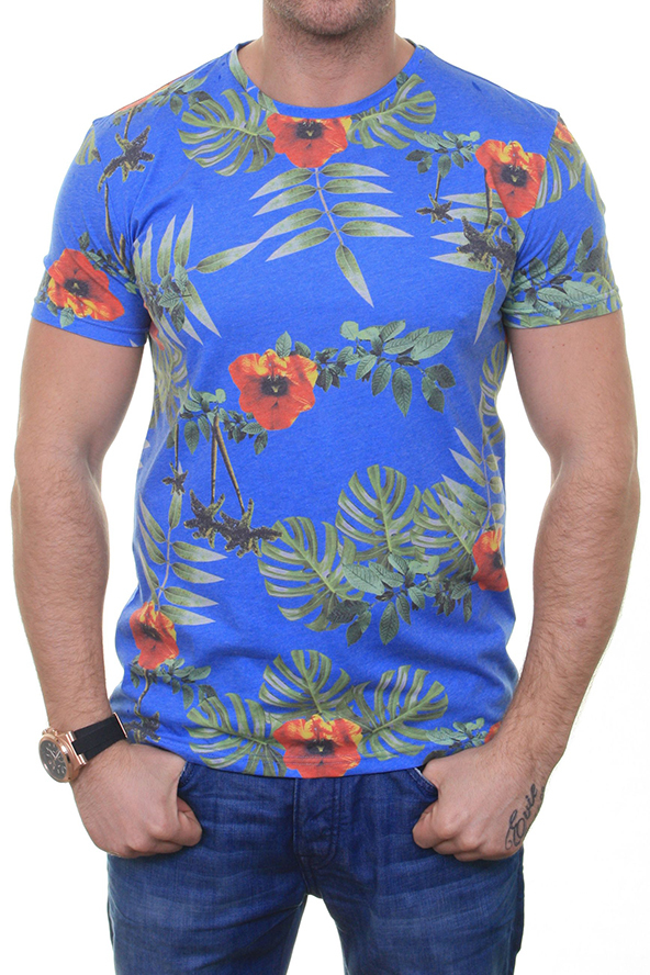 floral, t-shirt, blue, flowers, floral t-shirt