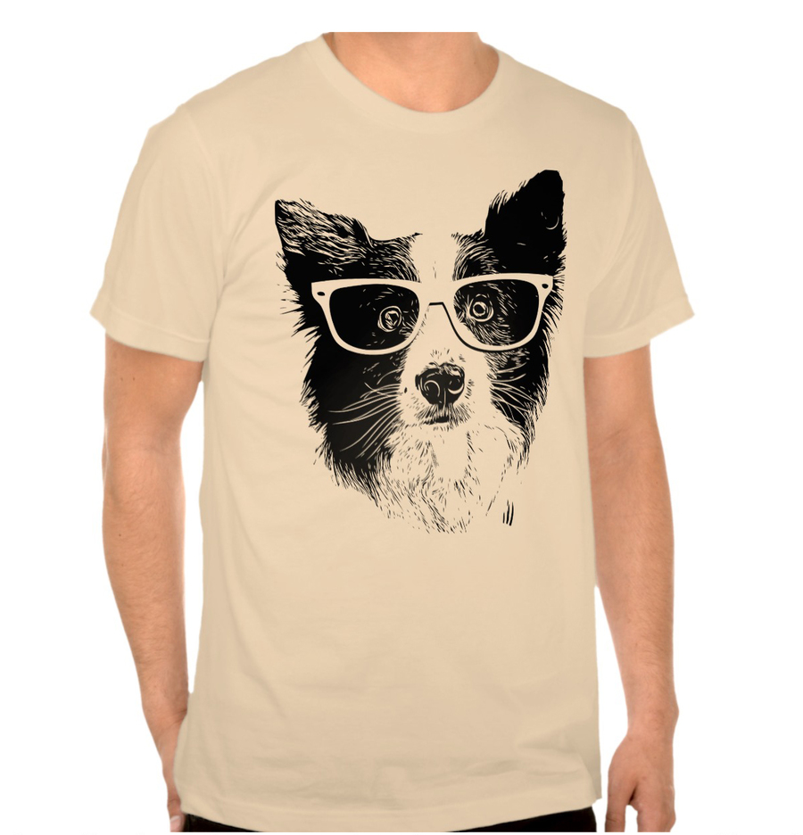 hipster collie t-shirt, collie t-shirt, hipster t-shirt