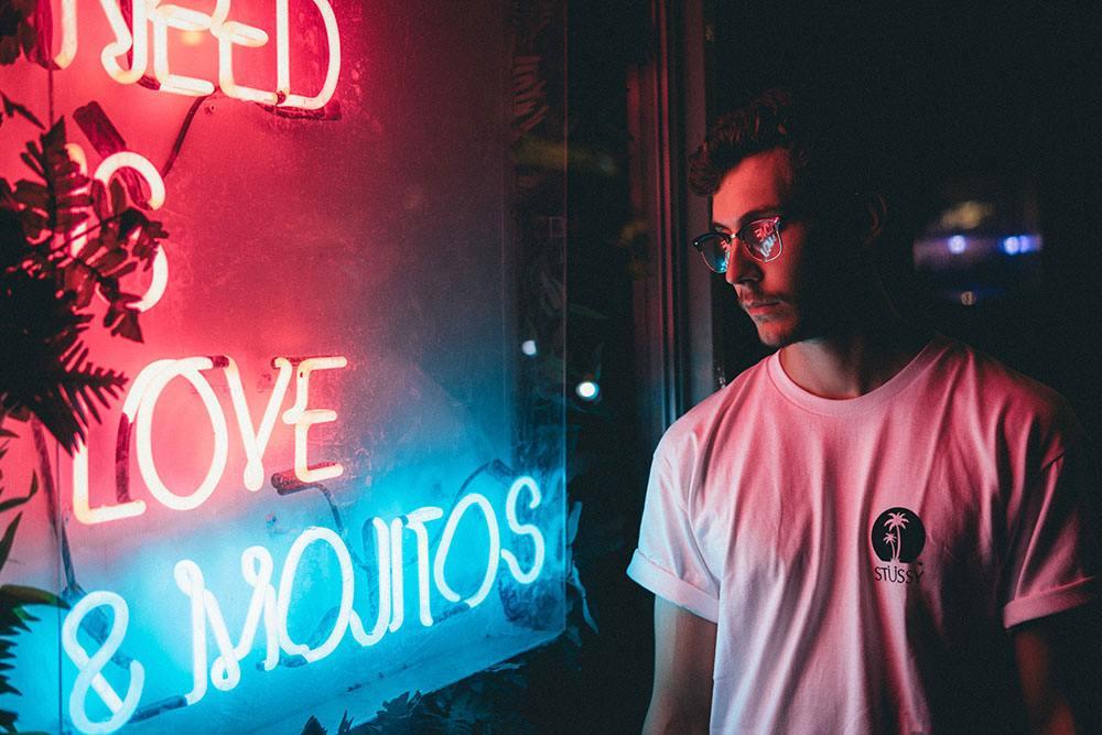 male model, t-shirt, neon lights