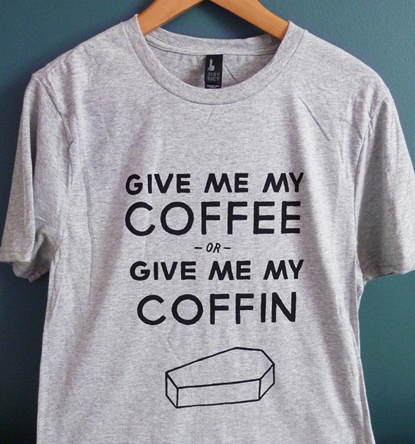 coffee or coffin, coffee or coffin t-shirt, coffee t-shirt, london coffee festival, coffee shirts