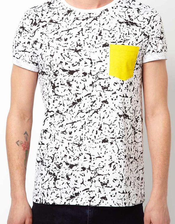 crazy print, colours t-shirt, front pocket, t-shirt