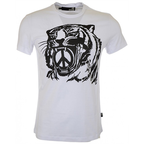 tiger, peace sign, t-shirt, black and white, screen printing