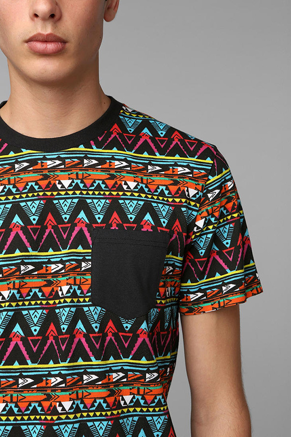 t-shirt, crazy pattern, multicolours,