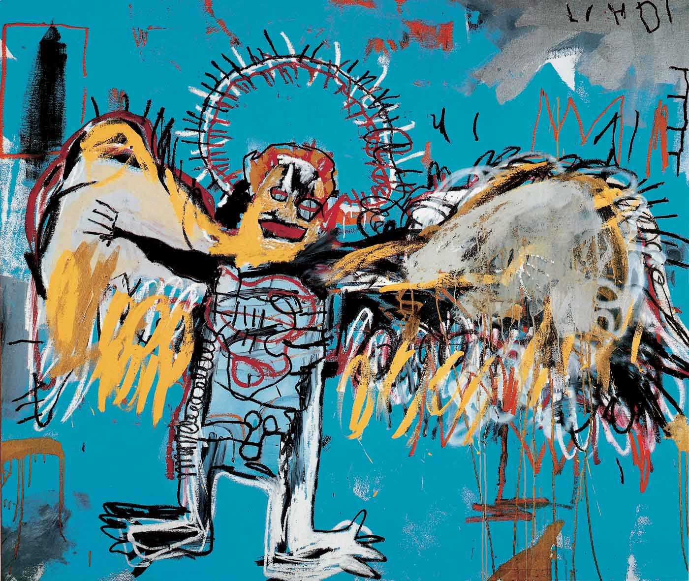Jean Michel Basquiat, fallen angel, street art