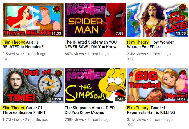 film theorists, screen shot, promote youtube video