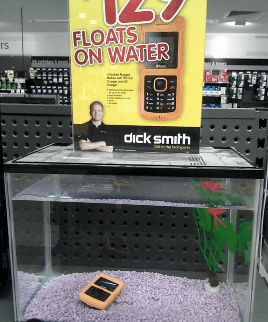 floating phone, marketing fail