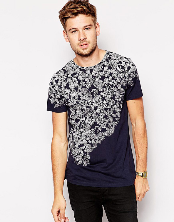 floral print t-shirt, t-shirt, black and white, floral