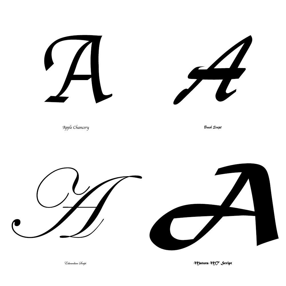 Fonts -Script (Apple chacery, Busch script, Edwardian script, matura script)