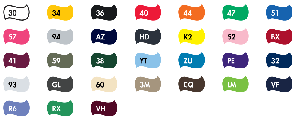 Brands for T-shirt printing: Palette of colours for the Fruit of the loom T-shirt