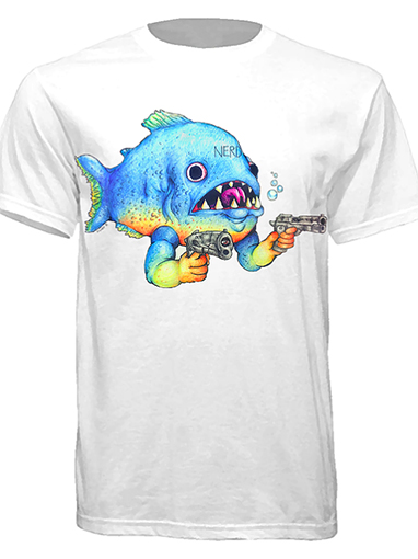 """Gun-blazing Fish"" T-shirt by Nerd Venom"