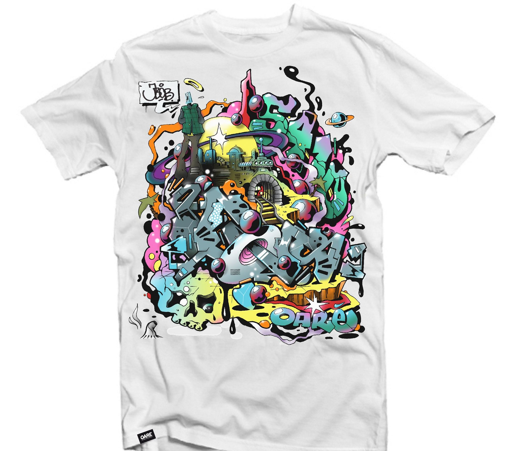 street art, white t-shirt, print
