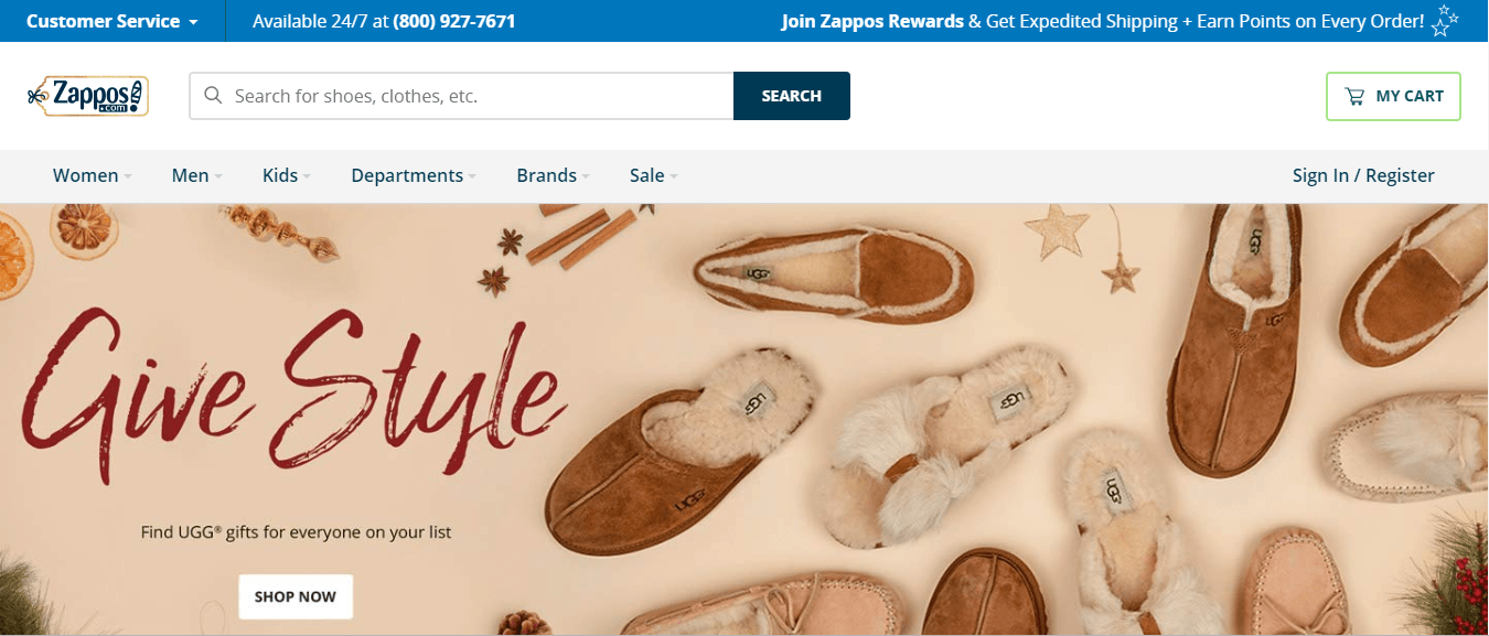 SEO for e-commerce: Zappos home page