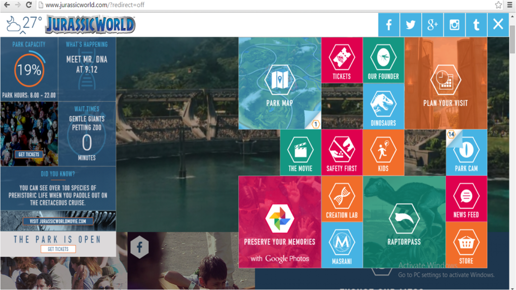 """Jurassic World"" movie website screengrab"