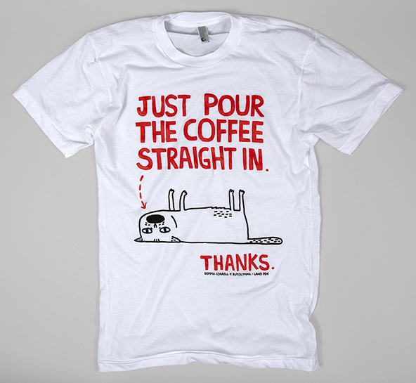 just pour the coffee t-shirt, coffee cat t-shirt, coffee t-shirt, london coffee festival, coffee shirts