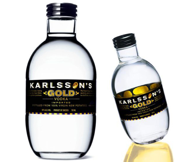 Karlsson's Gold vodka, 25 Amazing Bottle Packaging Design examples, packaging design, packaging design inspiration, design inspiration, cool bottles, vodka bottles, spirits bottles, gin bottle design, vodka bottle design, best bottle designs, product design, graphic design, t shirt printing UK, screen printing UK, screen printing onto bottles, how to create a cool bottle label, Printsome blog, russian bottle designs