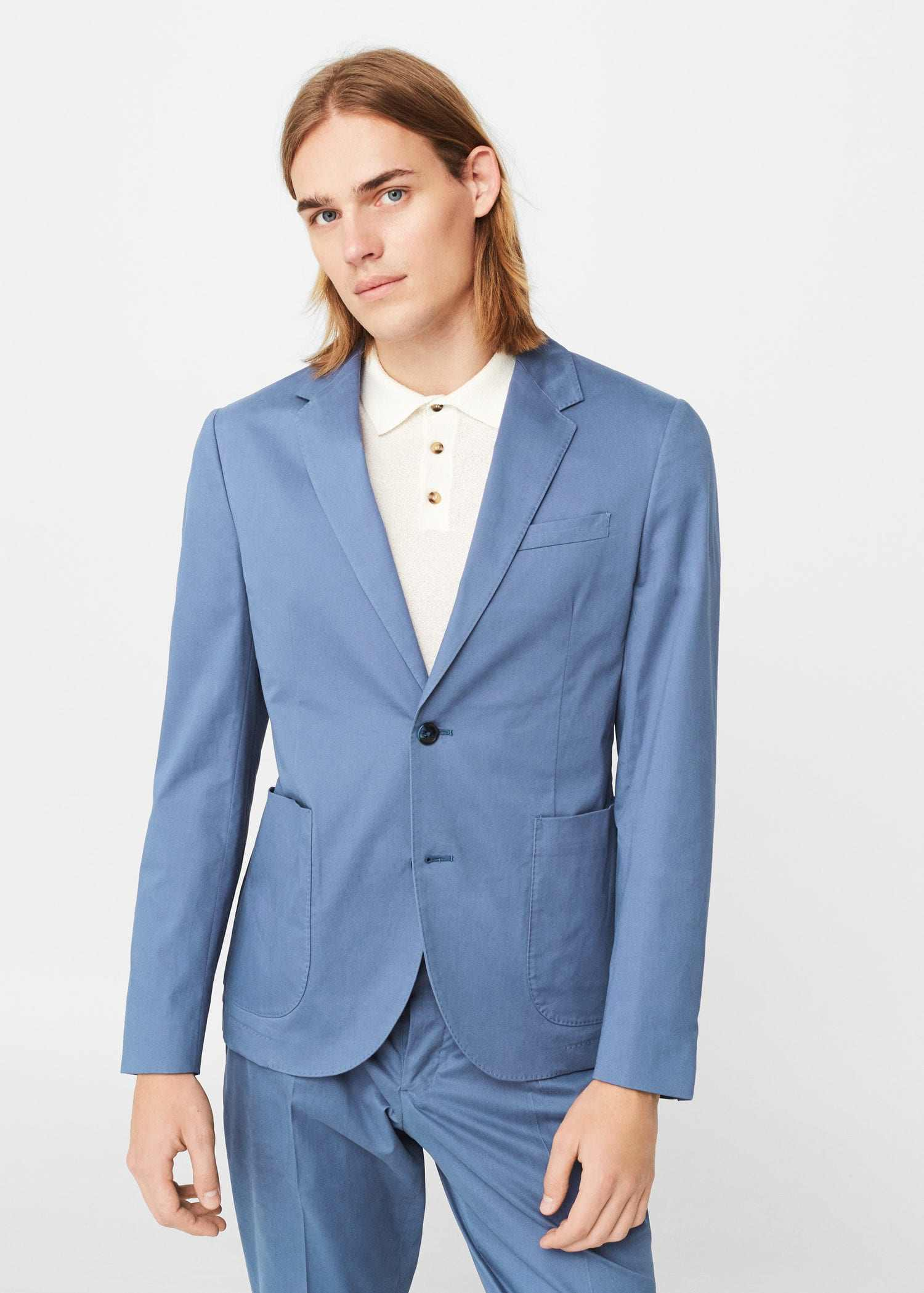 Embroidered polo shirt and blazer by Mango. Source.