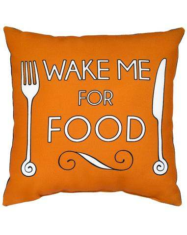 """Wake me for food"" Marcus Butler Cushion"