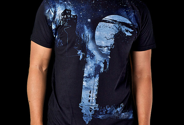 black night t-shirt, blue night t-shirt, night t-shirt, artistic t-shirt, art on t-shirt, art, t-shirt
