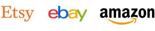 online t-shirt store, listing platforms logos