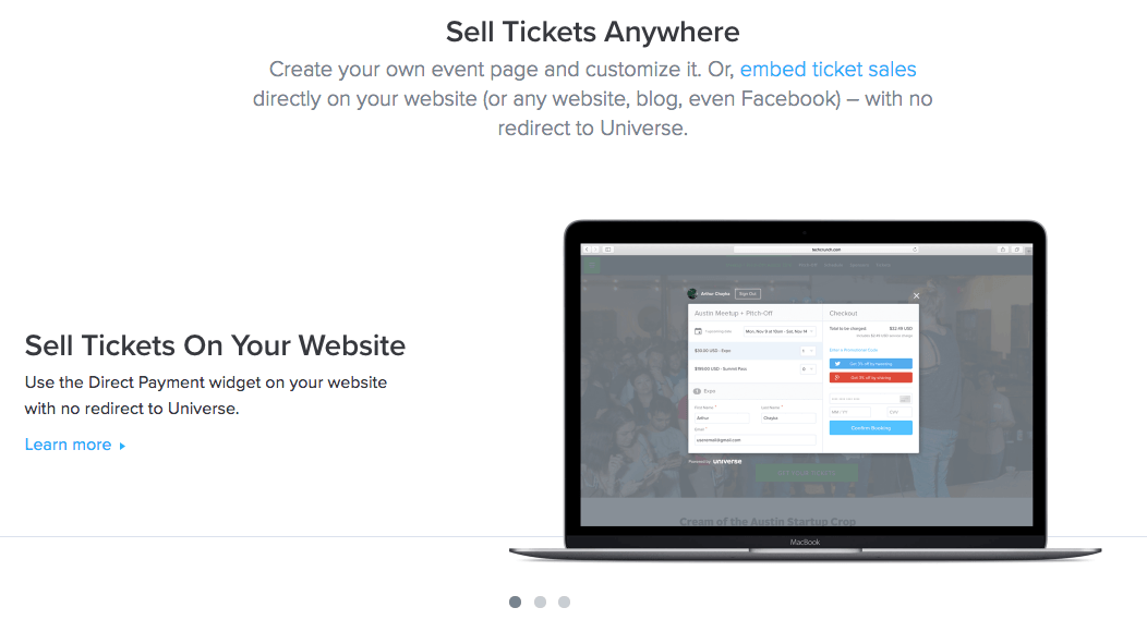 online ticketing platforms - universe