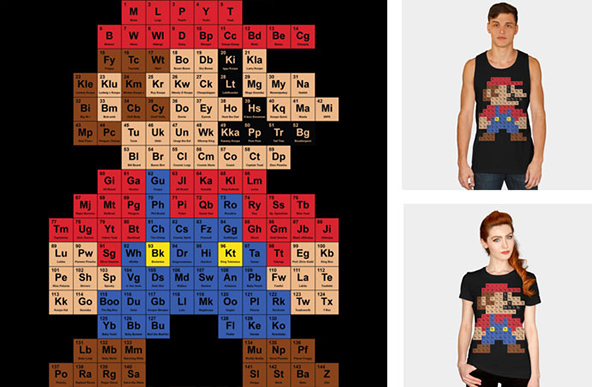 super mario, periodic mario t-shirt, super mario t-shirt, video games, video games t-shirt