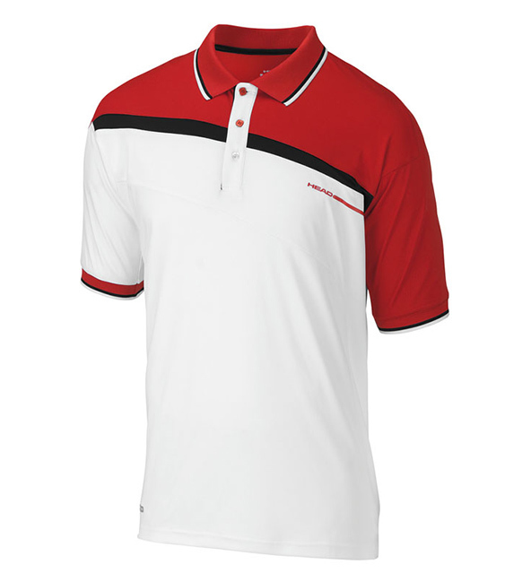 red stripe polo shirt, red stripe polo, embroidery