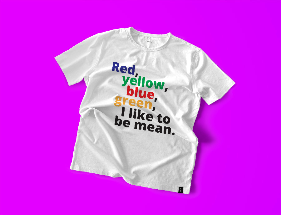 red-yellow, personalised T-shirt