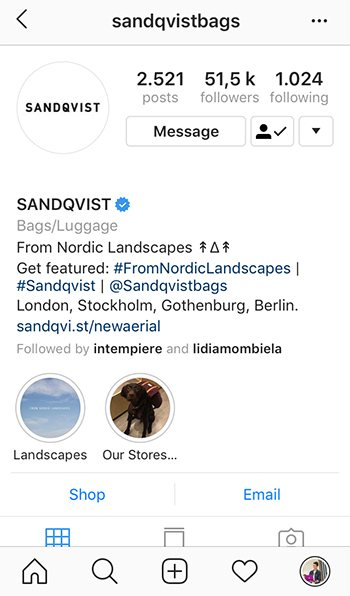 sell t-shirts on instagram, bio, sandqvist