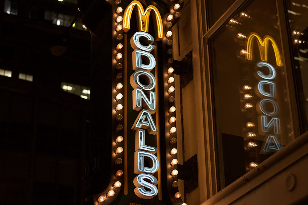 signage, McDonald's, Lights