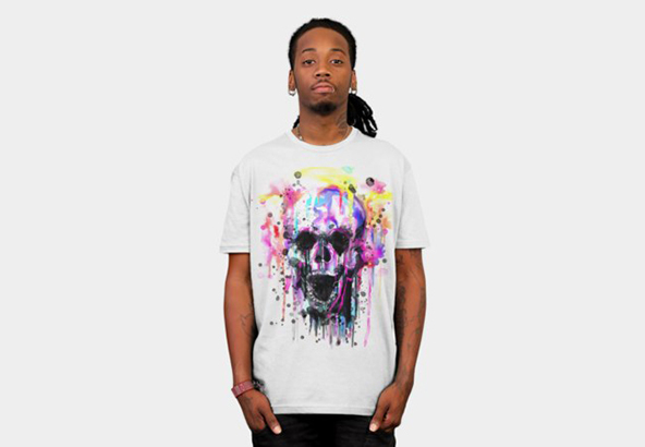 colourful skull t-shirt, colorful skull t-shirt, artistic t-shirt, art on t-shirt, art, t-shirt